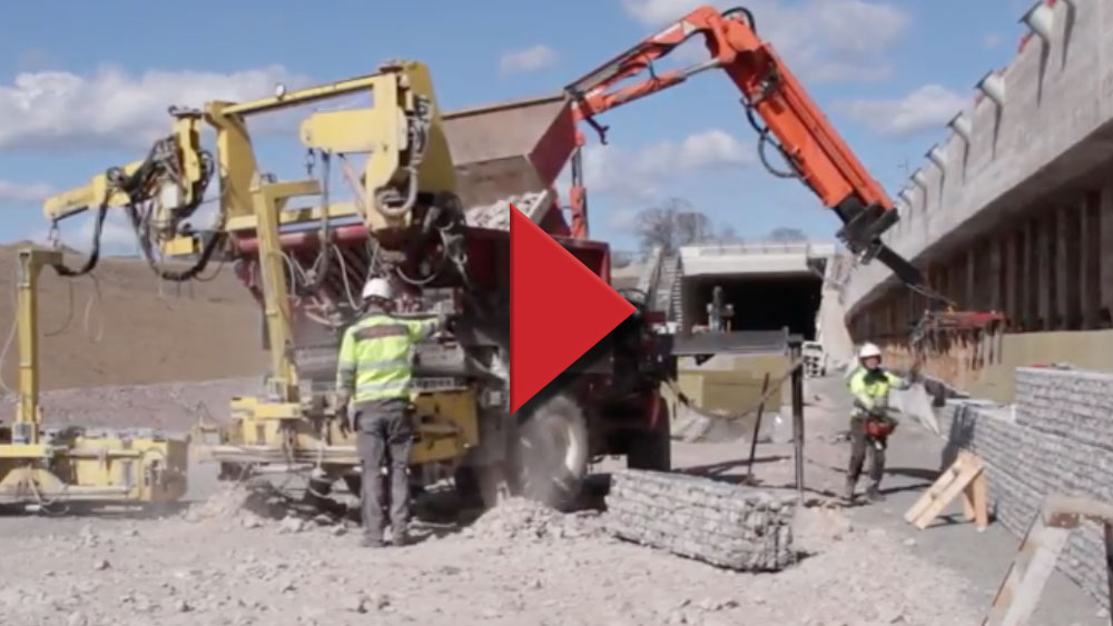 Maskinell gabion - video